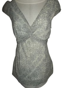Studio Y Y Lace Print Cap Sleeves Tie In Back Top Grey
