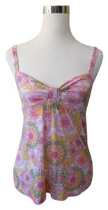 Ella Moss Green Yellow Lotus Floral Top Pink