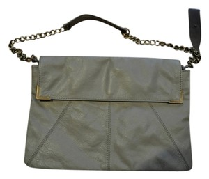 Paul & Joe's Sister Leather Chain Brass Grey Clutch