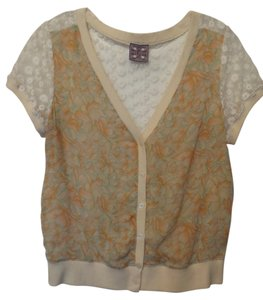 Free People Embroidered Lace Button Front Cardigan Sheer Top Off-white w/ orange, green and tan