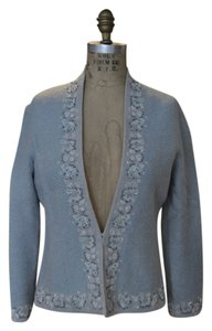Sigrid Olsen Wool Beaded Tulle Pale Blue Blazer