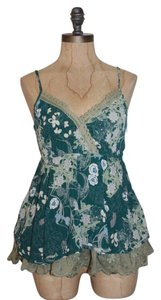 Anthropologie Hazel Floral Embroidered Top GREEN