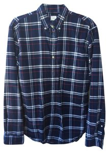 J.Crew Men Men's Button Down Shirt Blue Plaid