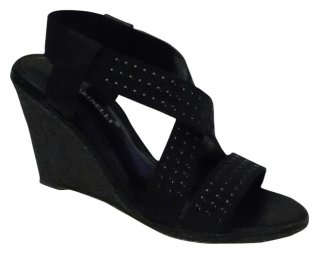 A. Marinelli Black Elastic Studded Straps Randie Wedge Sandals Size US 7.5 Regular (M, B) A. Marinelli Black Elastic Studded Straps Randie Wedge Sandals Size US 7.5 Regular (M, B) Image 1