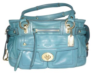 Coach Lindsay 12475 Satchel in Teal Aqua Turquoise Blue