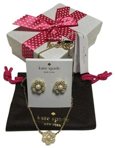 Kate Spade Kate Spade New York Necklace and Stud Earrings Set Park Floral with Bagity Gift Box