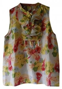 J.Crew Top yellow and coral floral