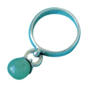 Tiffany & Co. Authentic Tiffany and Co Fascination Ring Dangling Aventurine Ball Sterling Silver