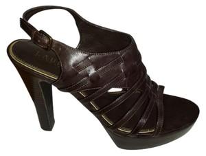 Ralph Lauren Platform Strappy Leather Deep Brown Sandals