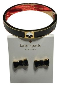 Kate Spade Kate Spade New York Bangle Bracelet and Stud Earrings Set Black Hole Spade Punch Take a Bow with Bagity Gift Box