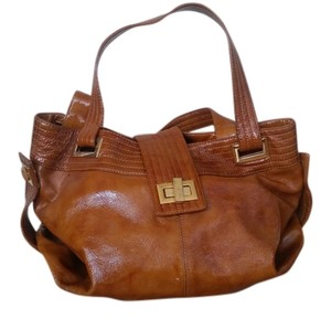 Kooba Gold Hardware Convertible Expandable Patent Leather Tote in Cognac