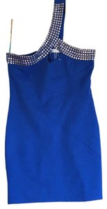 I. C. U. Collection short dress Royal Blue with silver on Tradesy