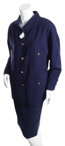 Chanel Chanel Nan Duskin Navy Blue Two Piece Skirt Suit