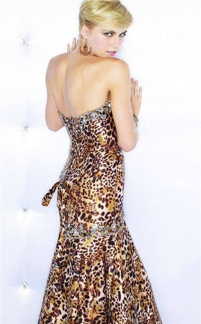 Mori Lee Prom Leopard Long Beads Tight Fitted Corset Back Tie Sweetheart Studded Dress