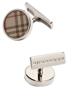 Burberry NIB BURBERRY LONDON ROUND CHECK CUFFLINKS CUFFLINK