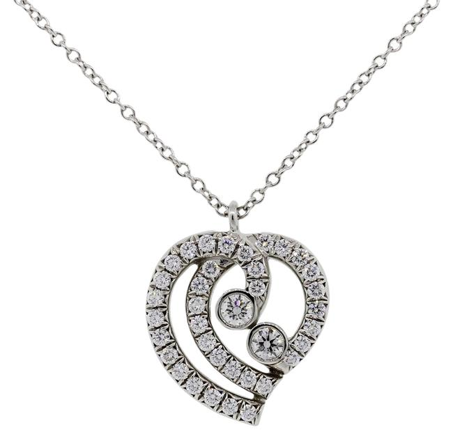 Tiffany & Co. White Co.platinum Diamond Heart Pendant Necklace Image 1