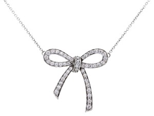 Tiffany & Co. Tiffany & Co. Platinum Diamond Bow Pendant Necklace