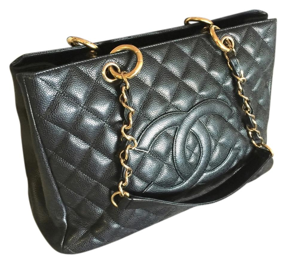 a91ce3224b5f Chanel Shopping Grand Gst Quilted Gold Hardware Classic Black Caviar ...