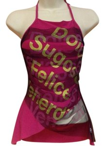 Dolce&Gabbana Graphic Vintage Rash Guard Swim Pink Halter Top