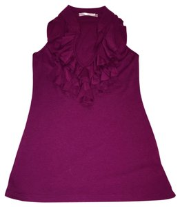 Charlotte Russe V-neck Ruffled Sleeveless Ruffled Top Wine