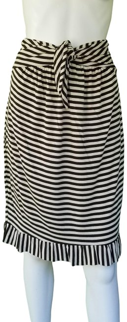 Item - Brown Jersey Ivory Striped Top M Dual Use Skirt Size 8 (M, 29, 30)