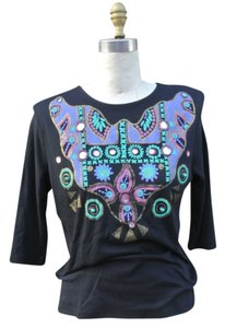 Other 90s Western Painted Bedazzeled T Shirt Black