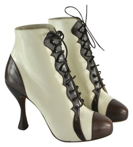 Michel Perry Ivory Brown Lace Up Multi Color Boots