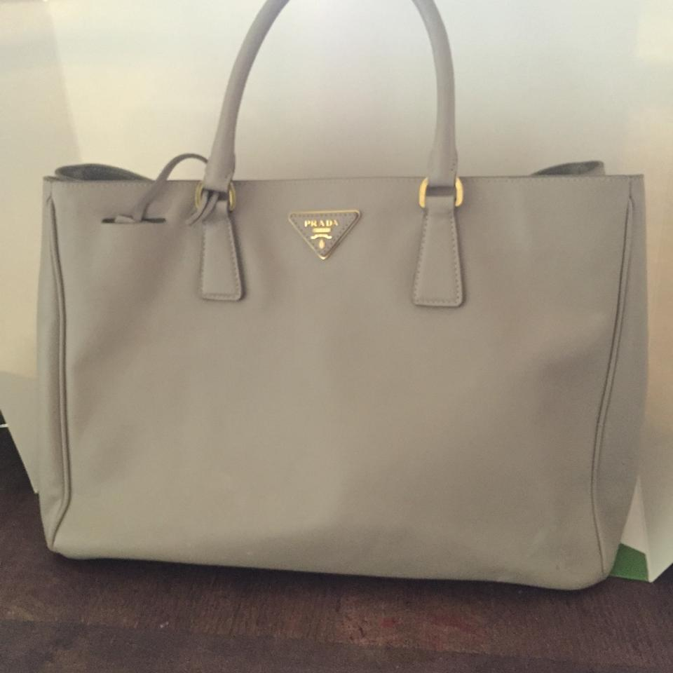e7799c33cc41 ... how much does a prada bag cost - Prada Gardeners Lux Tote Grey Satchel  on Sale ...