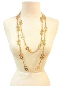 Chanel Chanel Gold Plated C-H-A-N-E-L Long Necklace As Seen on Miley Cyrus