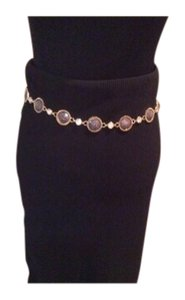 New Gorgeous Circle Gray & Gold w/Crystal Chain Belt XLong