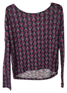 Mossimo Supply Co. Longsleeve Layer Knit Sheer Top Gray with Print
