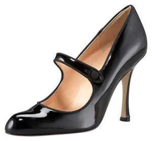 Manolo Blahnik Manolo 'campy' Patent Mary Jane Black Pumps