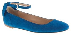 J.Crew Suede Bow Ankle Strap Blue Flats