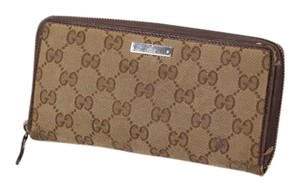 Gucci * Gucci GG Monogram Supreme Zip Around Wallet
