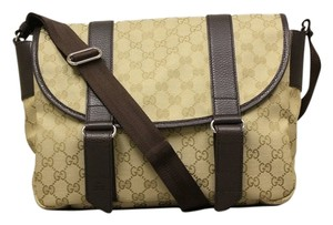 Gucci Beige canvas and brown leather Messenger Bag