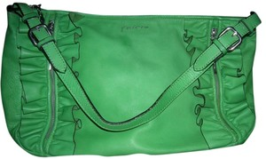 Dimoni Leather Brass Name Tag Satchel in Kelly Green