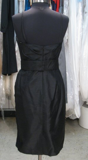 Watters & Watters Bridal Black Shantung 854 Cocktail - W7 Feminine Bridesmaid/Mob Dress Size 10 (M)