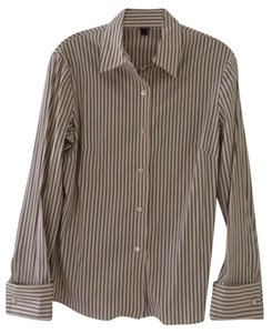 Jenne Maag Classic Button Down Shirt Cream/Grey