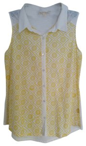Hem & Thread Button Down Shirt Yellow and white
