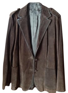 Miu Miu Brown Suede Dark brown Leather Jacket