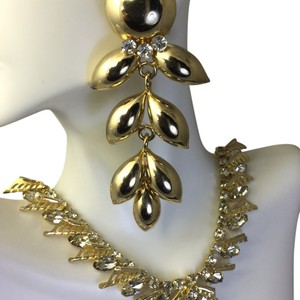 Albert Weiss German Rhinestone Necklace And Big Clip On Earings