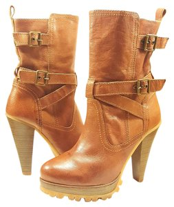 Steve Madden Heels Buckles Brown Leather Boots