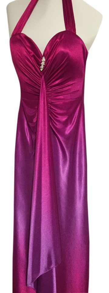 Macys Ombre Fuchsia Halter Top Prom Long Formal Dress Size 8 M