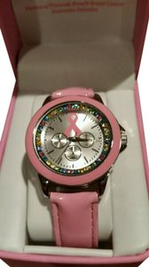 Other New Breast Cancer Awareness Pink Ribbon Multicolored Bling Stones Watch New In Box