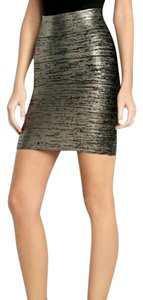 BCBGMAXAZRIA Mini Skirt Silver and Black