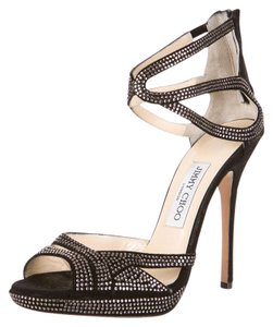 Jimmy Choo Suede Rhinestone Black Pumps