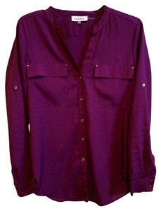 Calvin Klein Roll-tab Sleeve Top Purple