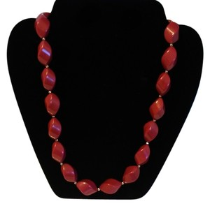 Other Deep Red Beaded Necklace