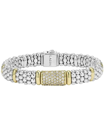Lagos Lagos Sterling .925 Caviar beading with Silver and Gold Pave Diamonds Bracelet ($2495.00 excluding tax)