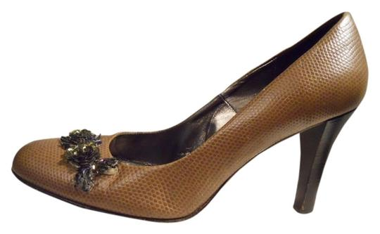 Banana Republic Leather Lizard Sequin Beaded tan Pumps